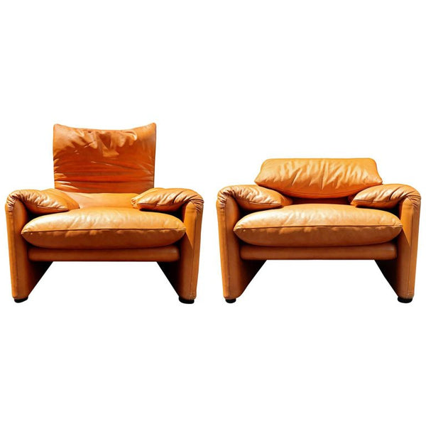 *SOLD* Maralunga Club Chairs by Vico Magistretti for Cassina, circa 1973