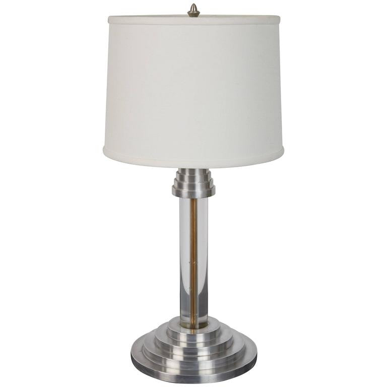 Art Deco Streamline Modern Lucite and Aluminum Table Lamp