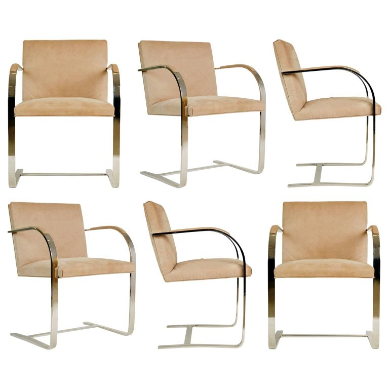 *SOLD* Brueton Flat-Bar Chrome Set of Six Dining Chairs, circa 1980