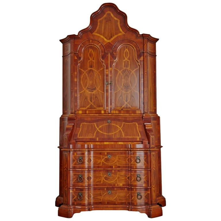 *SOLD* Italian Baroque Style Inlaid Walnut Bureau Secretary