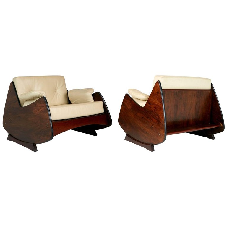 *SOLD* Jorge Zalszupin Jacaranda and Leather Lounge Chairs, Pair, Brazil circa 1960