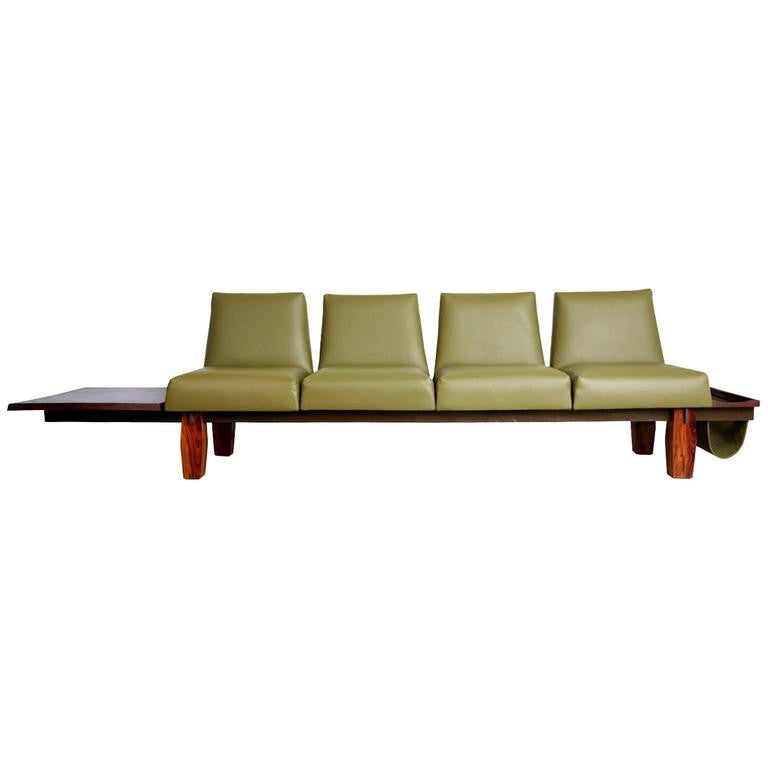 Jorge Zalszupin for L'atelier Brazilian Rosewood and Leather Sofa w Side Table