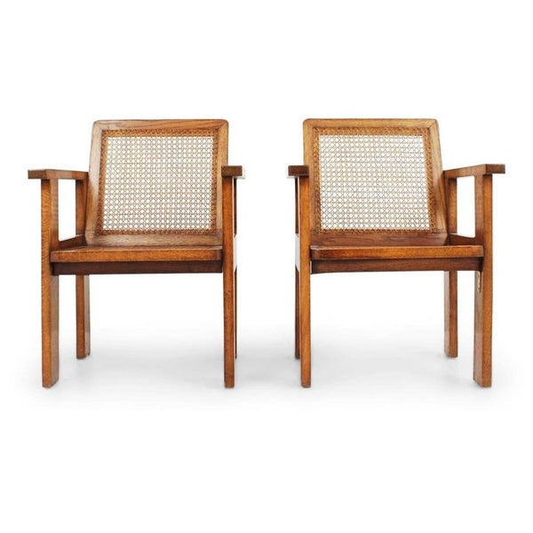 Art Deco Armchairs with Caned Seats, Pair, circa 1930