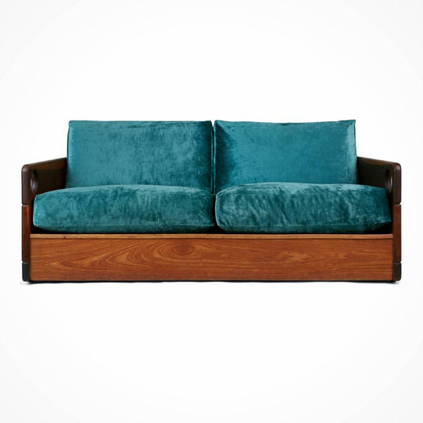 "Sergio Rodrigues ""Cris 1"" Solid Hardwood and Silk Mohair Sofa, Brazil"