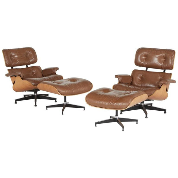 *SOLD* Charles and Ray Eames 670 and 671 Lounge and Ottomans by Herman Miller, 1970s