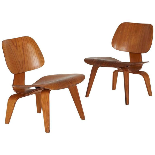 Charles and Ray Eames LCW Lounge Chairs, Early Production, circa 1950, Rare Pair