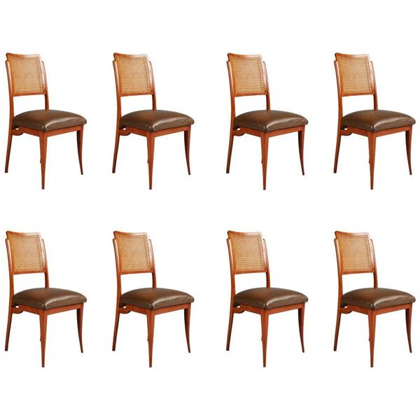 Giuseppe Scapinelli Caviuna and Wicker Dining Chairs, Eight, Brazil, circa 1950
