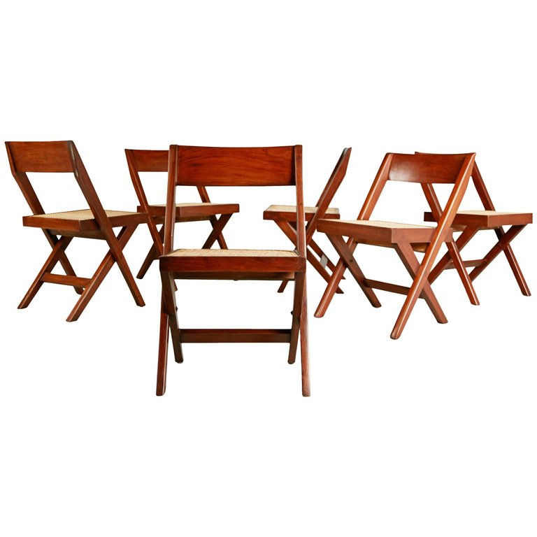 Pierre Jeanneret Solid Teak and Cane Library Chairs, #PJ-SI-51-A, circa 1959