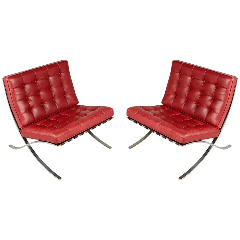 *SOLD* Barcelona Lounge Chairs by Ludwig Mies van der Rohe for Knoll International 1985