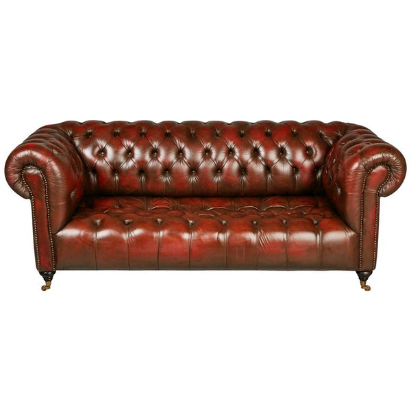 *SOLD* English Georgian Style Distressed Oxblood Leather Chesterfield Sofa, circa 1960