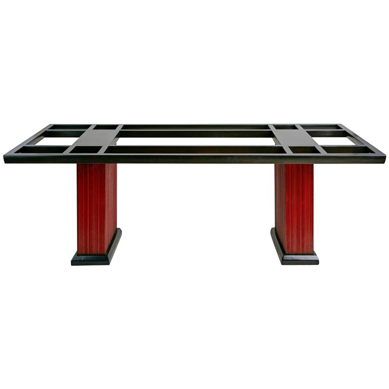 Paul Frankl Combed Wood and Pebble Glass Dining Table, circa 1950