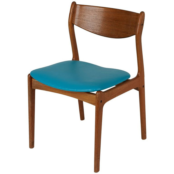 Danish Modern Teak Side Chair with Teal Upholstery, Circa 1960