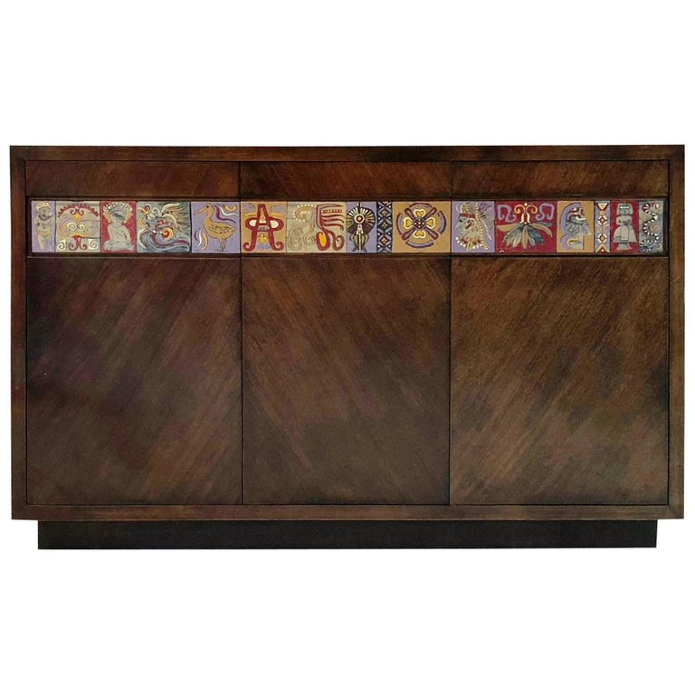 Mexican Modernist Tile Cabinet, circa 1950