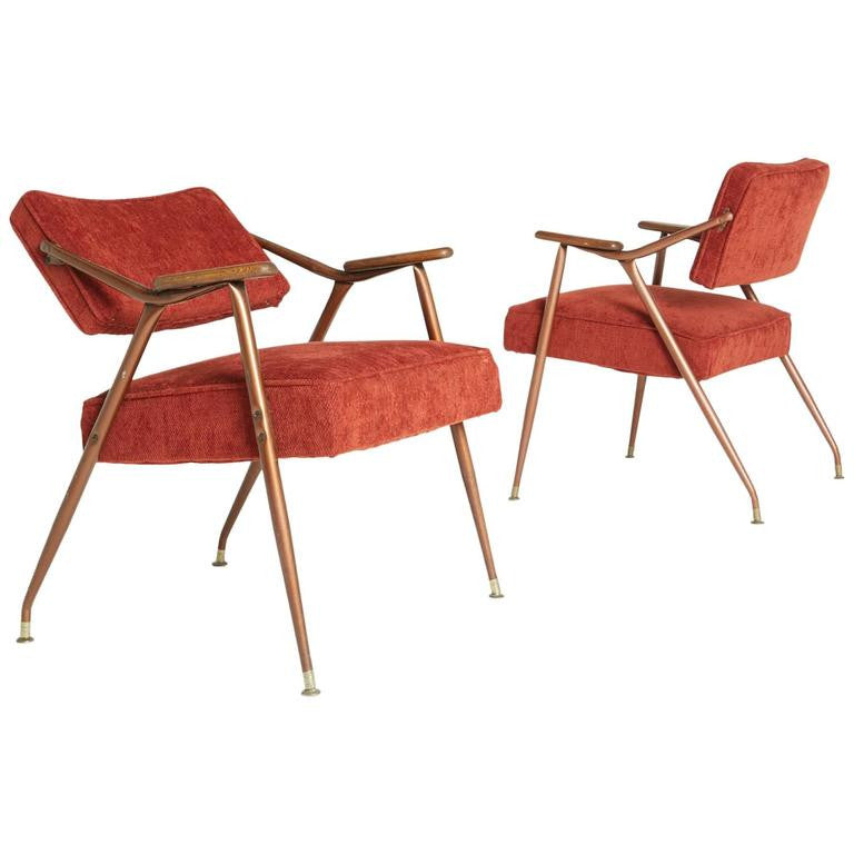 *SOLD* Pair of Adjustable Backrest Red Lounge Armchairs by Viko Baumritter