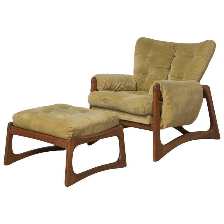 *SOLD* Adrian Pearsall Sculpted Walnut Lounge Chair & Ottoman in Green Velvet