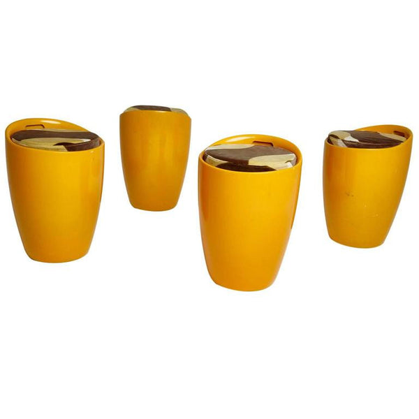 Set of Four Orange Fiberglass Stools with Velvet Upholstery