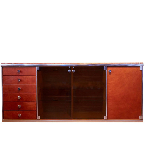 *SOLD* Alcantara and Marble Credenza by Guido Faleschini for Mariani by Hermes