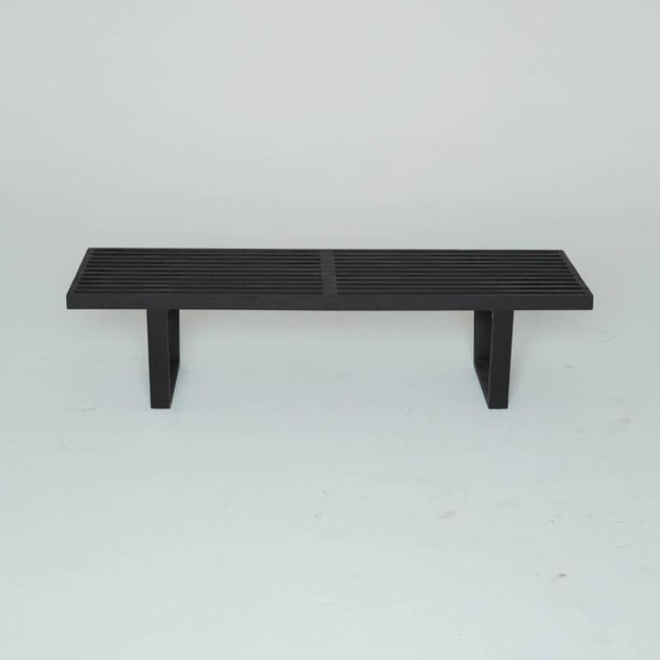 *SOLD* Black Slatted Wood Bench by George Nelson for Herman Miller