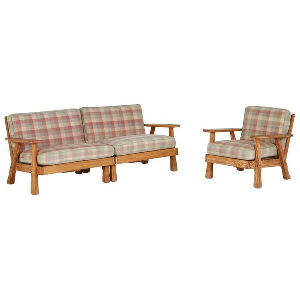 *SOLD* A. Brandt Ranch Three-Piece Textured Oak Seating Set, circa 1950s