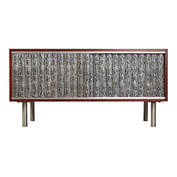 *SOLD* Brutalist Credenza with Custom Art Relief Pewter Doors