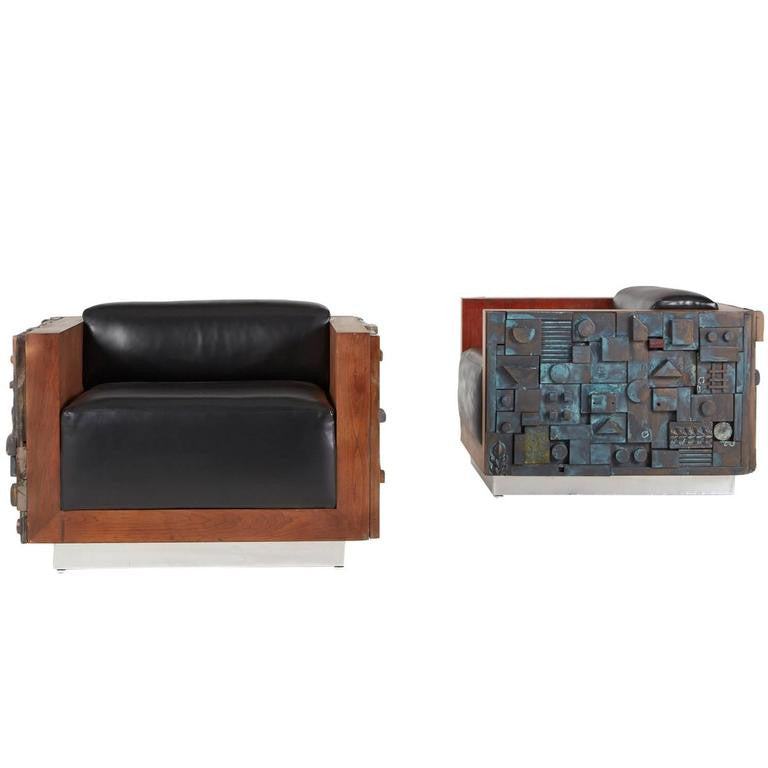 *SOLD* Handcrafted Brutalist Club Lounge Chairs, Custom Limited Edition