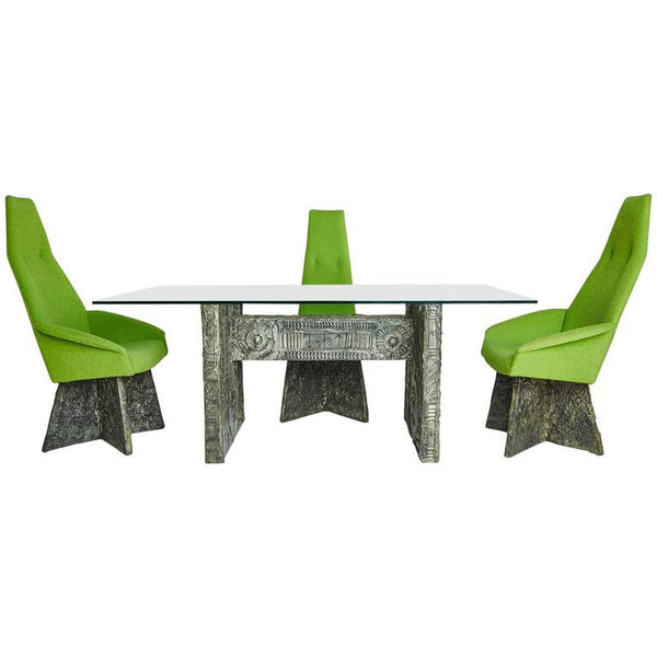 Four Chairs and Brutalist Dining Table by Adrian Pearsall
