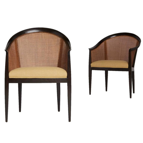 *SOLD* Cane Back Armchairs by Kipp Stewart for Directional