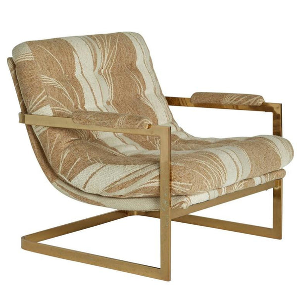 "*SOLD*Cantilevered Brass ""Swoop"" Chair Attributed to Milo Baughman"