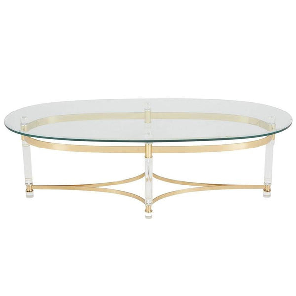 *SOLD* Charles Hollis Jones Style Lucite and Brass Regency Coffee Table, circa 1970