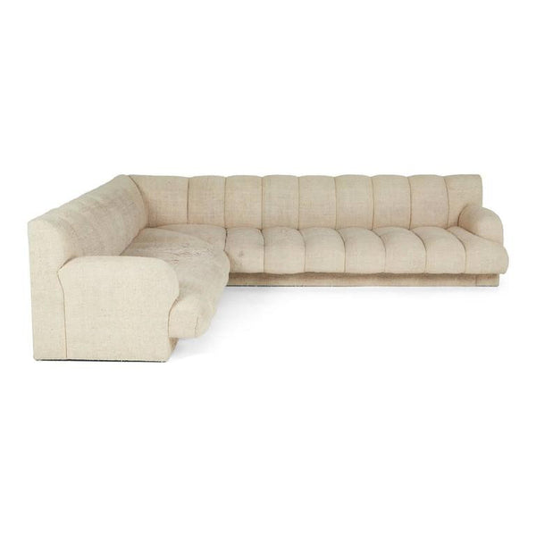 *SOLD* Steve Chase Channel Tufted L-Shape Sectional Sofa, 1986
