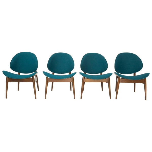 Set of 4 Kodawood Bentwood Clam Chairs with Teal Upholstery
