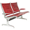 Custom Restored Tandem Sling by Eames for Herman Miller, Red Edelman Leather