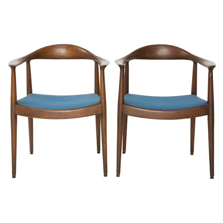 "*SOLD* Pair of Blue Danish Modern Chairs Attributed to ""The Chair"" Hans Wegner"