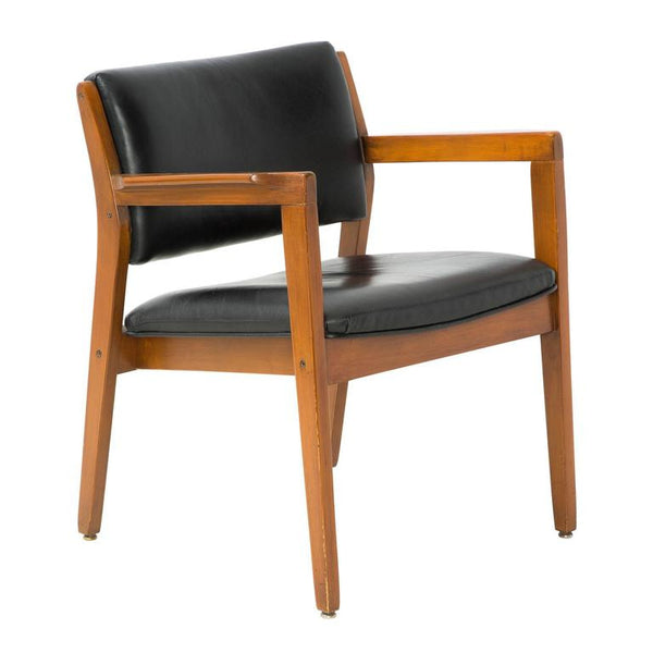 Danish Modern Dining Armchair in Black Leather