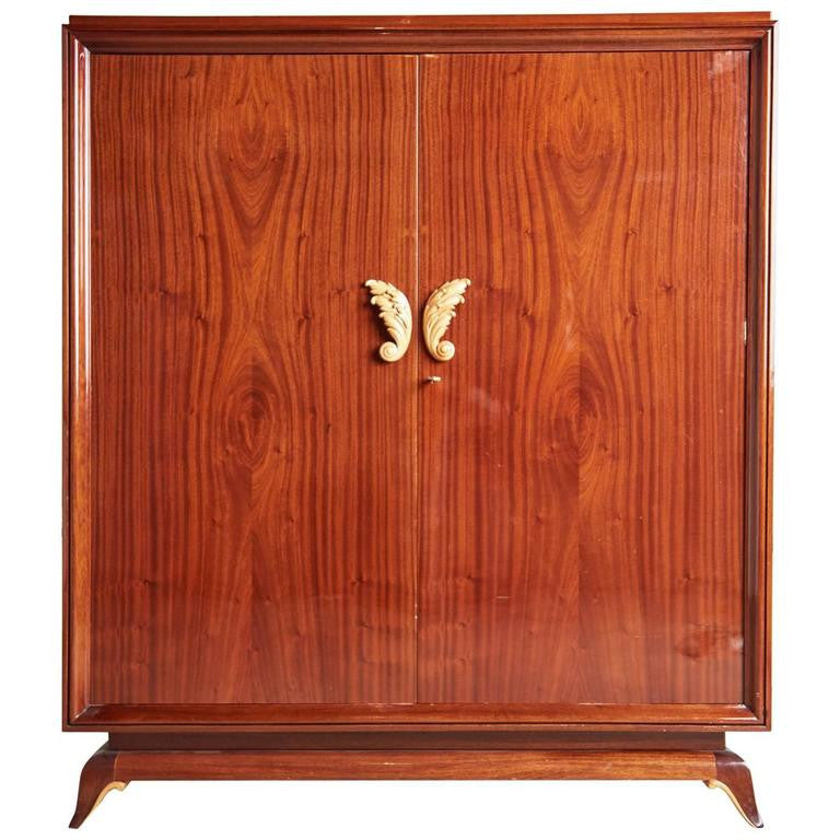 *SOLD* French Art Deco Lacquered Mahogany Armoire, circa 1920