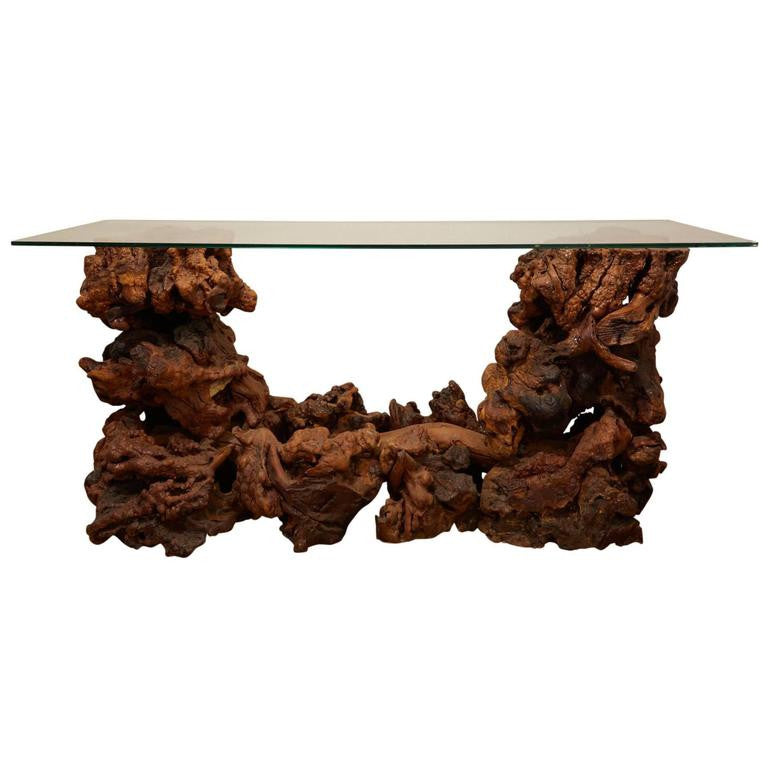 Driftwood Console Table with Glass Top