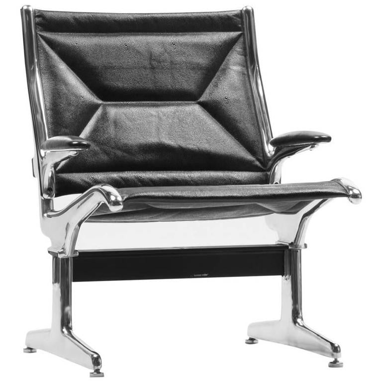 *SOLD* Eames for Herman Miller Tandem Sling Airport Chair in Black Edelman Leather