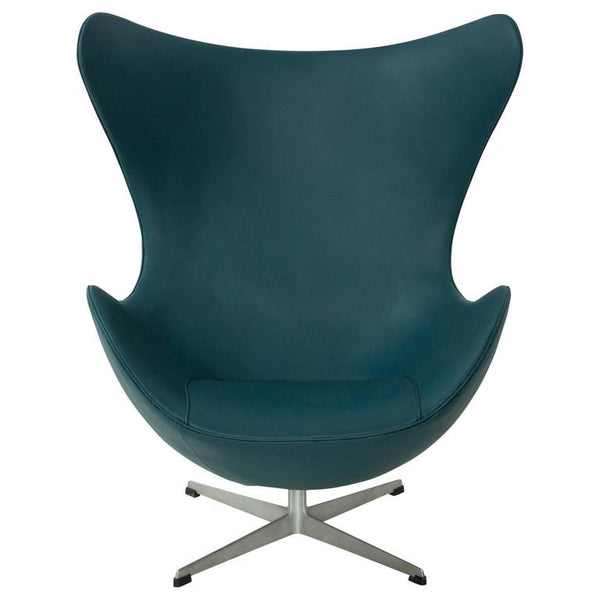 *SOLD* Early Arne Jacobsen Egg Chair for Fritz Hansen in Teal Spinneybeck Leather SALE