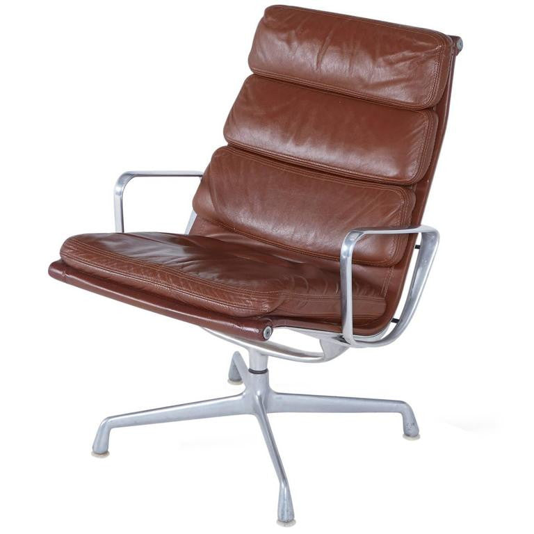 *SOLD* Eames Soft Pad Leather Swivel Lounge Chair, circa 1980s