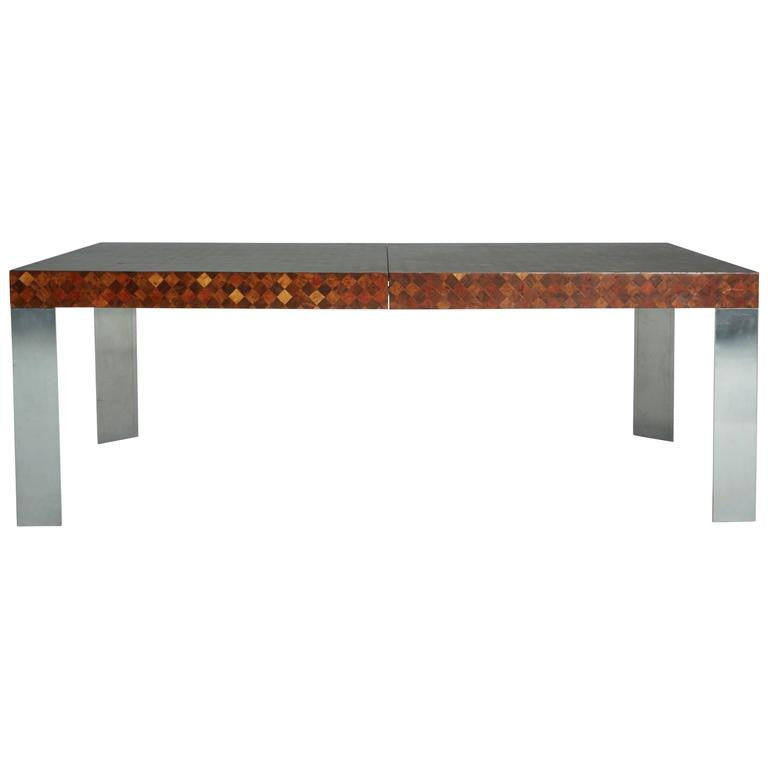 *SOLD* Exotic Patchwork Wood Dining Table by Paul Evans for Directional ca 1970