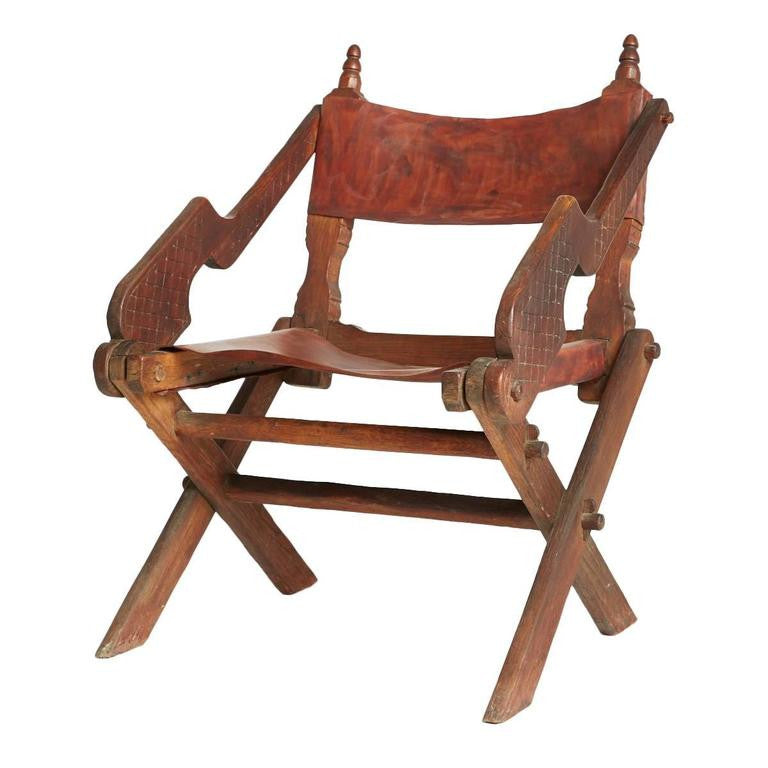 *SOLD* Handcrafted Leather and Carved Wood Mexican Modern Chair
