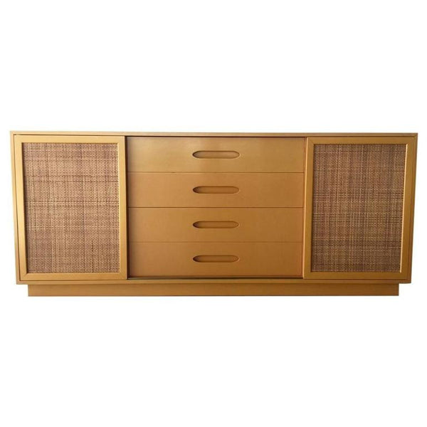 *SOLD* Harvey Probber Lacquered Credenza with Caning