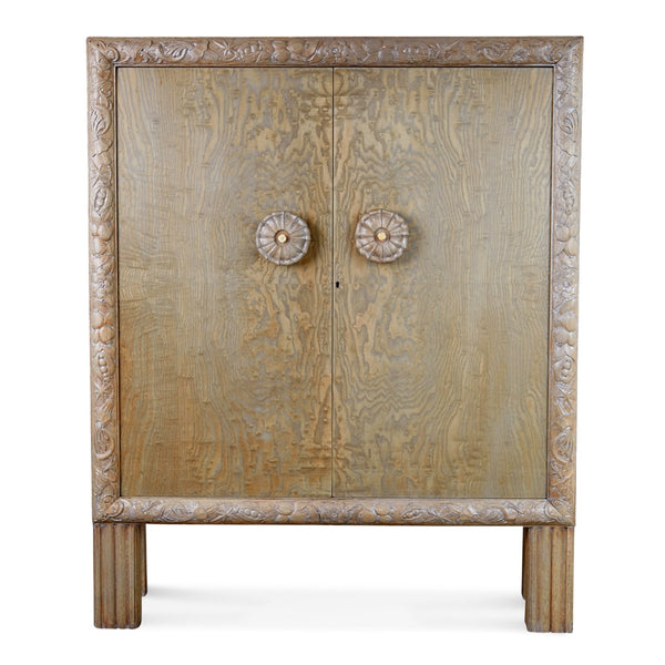Gustavian Style Carved Circassian Oak Cabinet, Newly Refinished, circa 1920