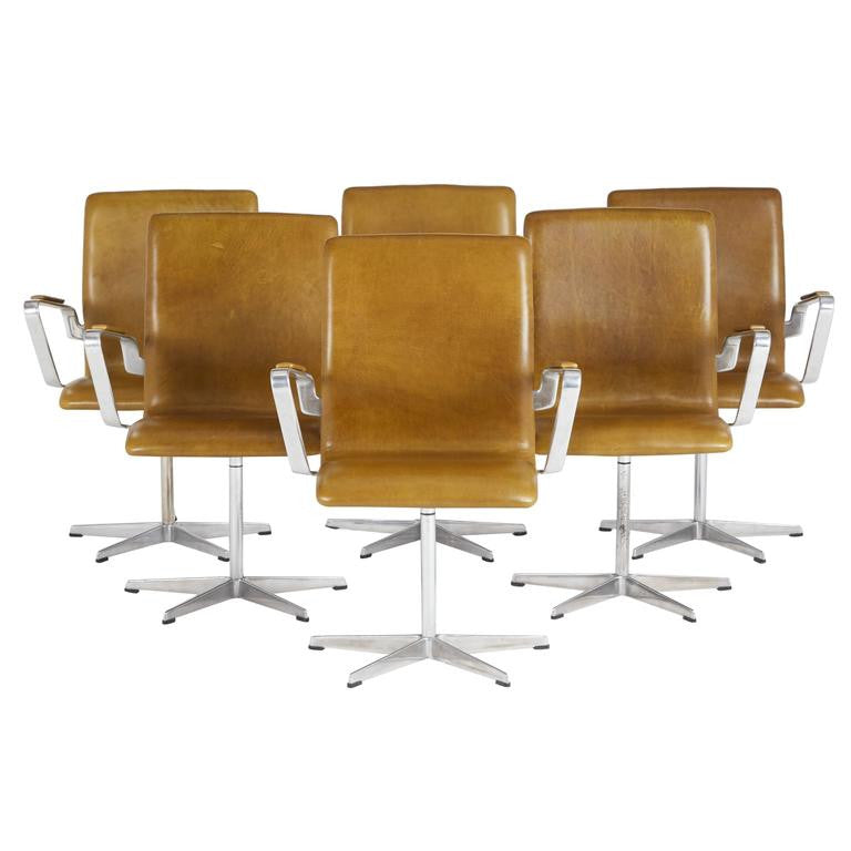 Leather Oxford Chairs by Arne Jacobsen for Fritz Hansen, Early Production- 3 LEFT