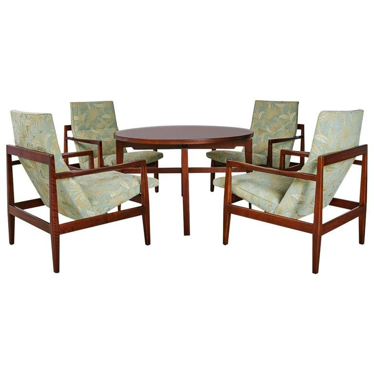 *SOLD* Jens Risom Cocktail Lounge Set with Revolving Table, Complete, circa 1960