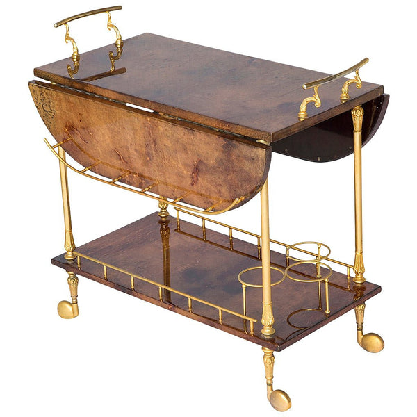 *SOLD* Aldo Tura Lacquered Goatskin Tea Cart