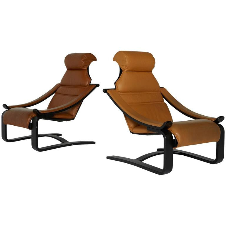 *SOLD* Leather Danish Modern Bentwood Lounge Chairs