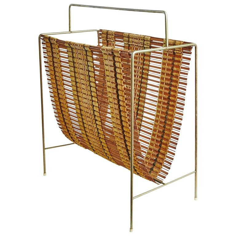 *SOLD* Rare Woven Magazine Rack by Maria Kipp