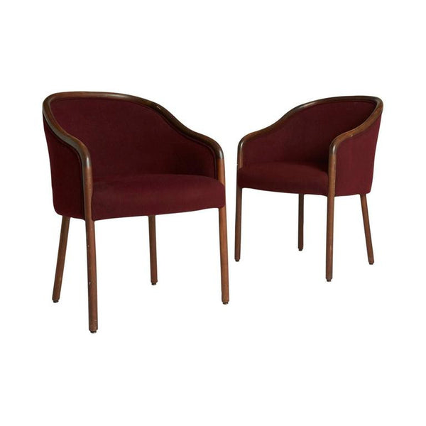 *SOLD* Maroon Sculptural Armchairs in the Style of Ward Bennett