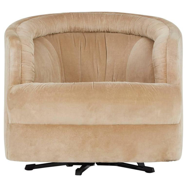 *SOLD* Milo Baughman Style Velvet Swivel Barrel Chair